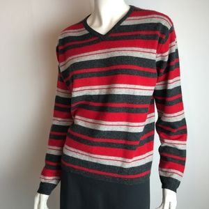 Lord & Taylor Striped Cashmere Pullover Sweater